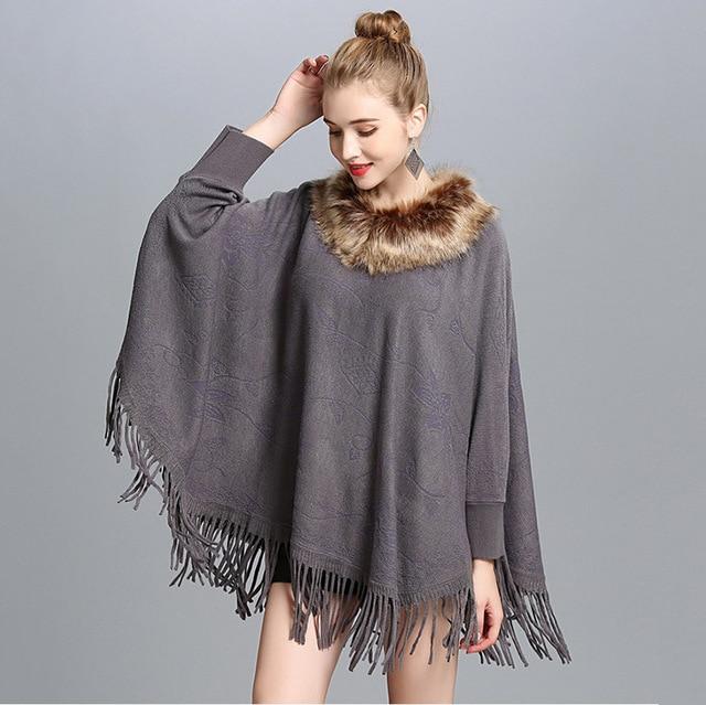 95f41e3538528b Outono cashmere poncho mulheres com faux fox gola de pele e manga primavera  grosso feminino tamanho grande pashmina wraps e capas femme em Lenços de ...