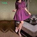 TAOVK 2016 новая мода Русский стиль Женщины Осень dress Рубашки воротник волновой точки печатных длинными рукавами dress