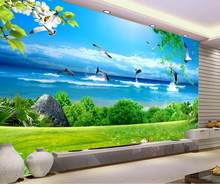 modern 3d photo wallpaper Nonwovens wall murals for living room Coffee Shop Bedroom Seascape Water Dolphin Backdrop wallpaper(China)