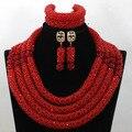 Роскошный Красный Африканский Свадьба Бусы Колье Кристалл Заявление Ожерелье 2017 Невесты Ювелирные Изделия Подарка Бесплатная Доставка WA594