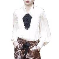 100 Silk Blouses High Quality 2018 Autumn Fashion Shirts Women Tops Long Sleeve Lantern Sleeve
