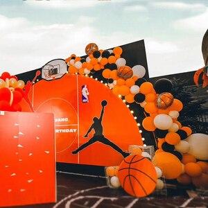 Image 2 - Баскетбольный мяч вечерние принадлежности Оранжевый латексные воздушные шары на день рождения вечерние украшения детский баскетбольный мяч для взрослых арка для воздушных шаров Babyshower для маленьких мальчиков