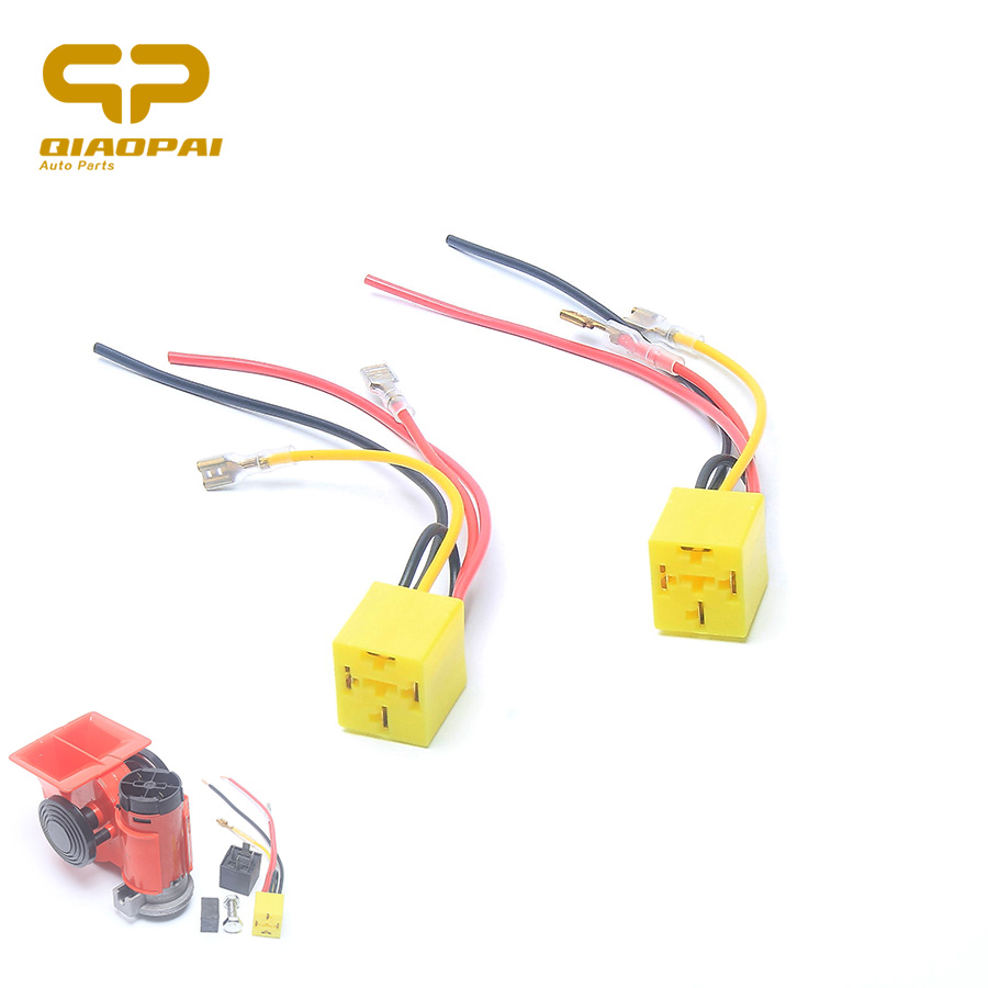 1 pair relay socket motorcycle car 12v 24v air horn relay socket plug modified scooter 4pin relay base disc horn wire connector [ 900 x 900 Pixel ]