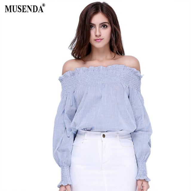 MUSENDA Women Girls Fashion Cotton Blue White Striped Tops Off the Shoulder Long Sleeve Shirts Loose Elastic Ruffle Blouses