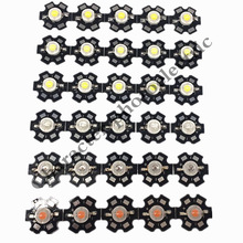 50pcs 1W 3W High Power warm white/cool white /natural white/red/green/Blue/Royal blue/660/UV/IR850/940 LED with 20mm star pcb