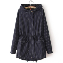 4XL 2016 Women Trench Coat Spring Autumn Cute Polka Dots Hooded Trench Abrigos y Chaquetas Fashion Plus Size Coat