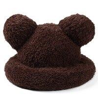 Lovely Winter Hat For Women Warm Wool Knitted Cartoon Bear Ears Skullies Plain Female Velvet Beanies Bonnet Bucket Stocking Caps