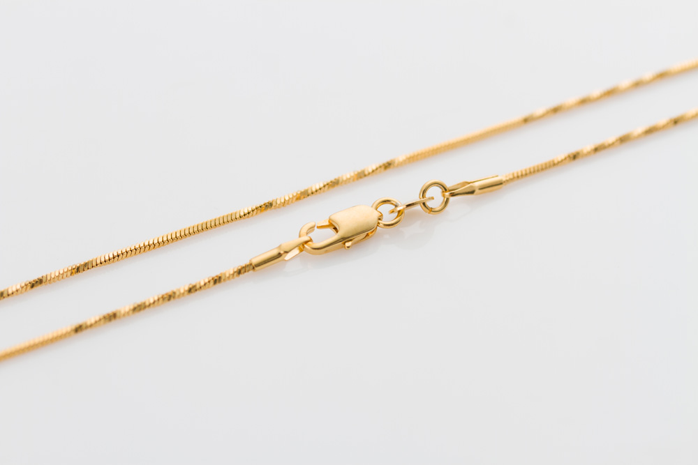 Thin gold chain 18inch 1mm yellow Gold Color GP filled men Women