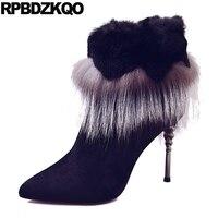 높은 뒤꿈치 모피 뾰족한 발가락 짧은 옷 새로운 겨울 블랙 발목 스웨이드 스틸레토 신발 여우 금속