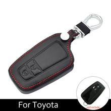 Car Key Holder Leather Case Fob Cases 2 Keyring For Toyota CHR C-HR 2017 Prius Buttons With Ring Style