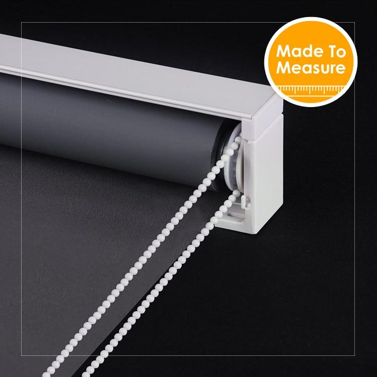 Europen Design Solid Color 100 Black پرده غلتکی خاموشی با دکوراسیون جلوی پنجره ، برای اندازه گیری پرده های غلتکی ساخته شده برای اندازه گیری