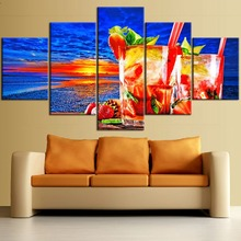 5 Pieces Framework HD Printing Painting Abstract Food Colorful Cocktail And Sea Sunset Landscape Type Poster Home Decor Bedroom