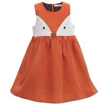 Süße Baby Mädchen Fuchs Kleid Cord Kleid Orange Farbe Cartoon Süße Kinder Kleid