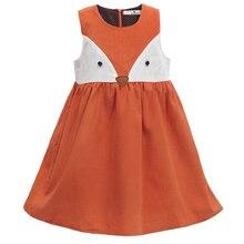 Słodkie dziewczynek Fox sukienka sukienka sztruksowa pomarańczowy kolor Cartoon słodkie sukienka dla dzieci