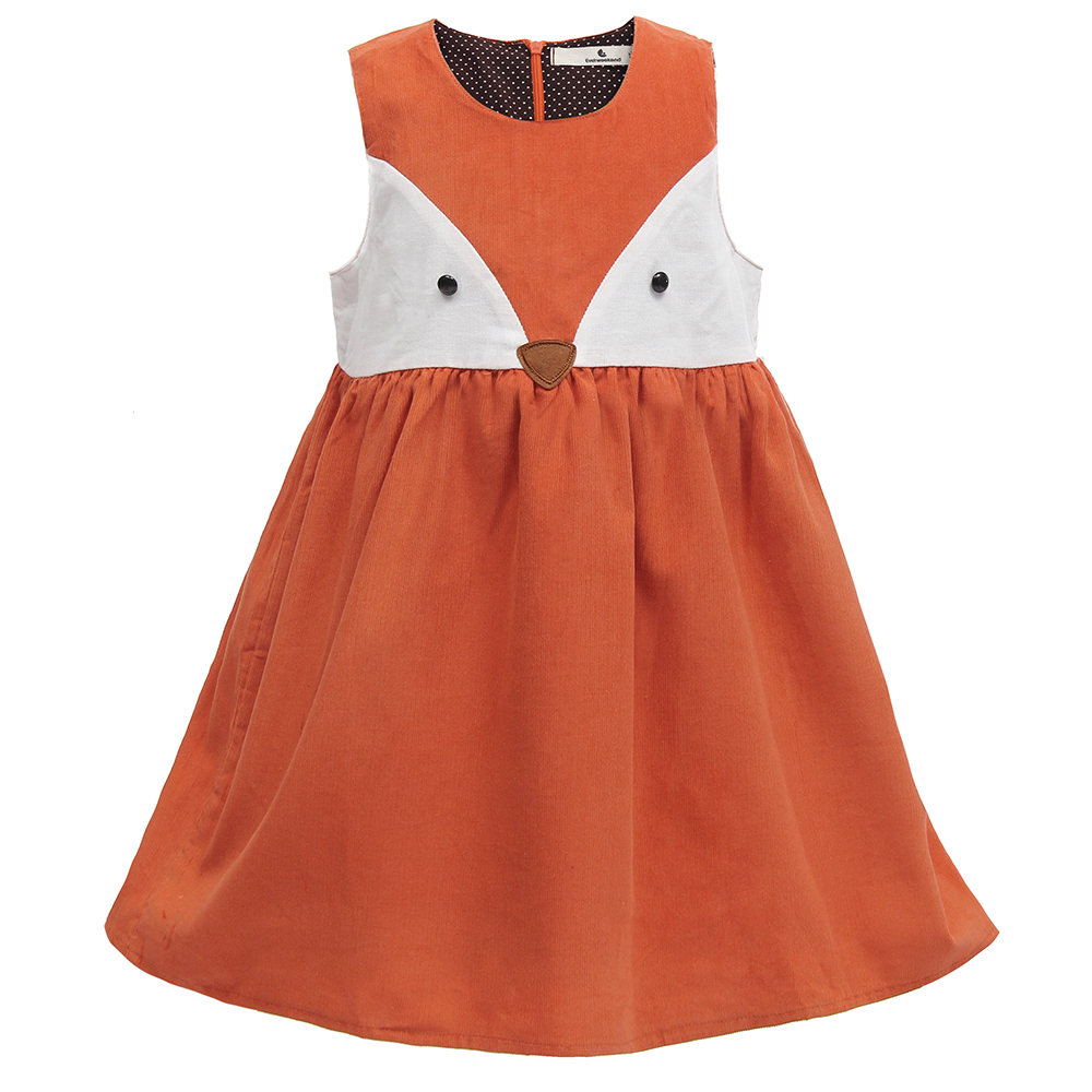 Sweet Baby Girl Fox Dress Corduroy Dress Orange Färg Cartoon Sweet Kids Dress