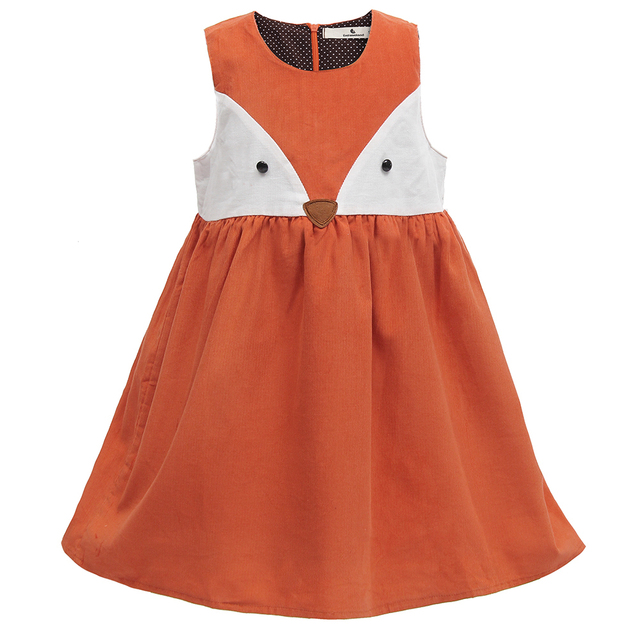 Sweet Baby Girls Fox Dress Corduroy Dress Orange Color Cartoon Sweet Kids Dress