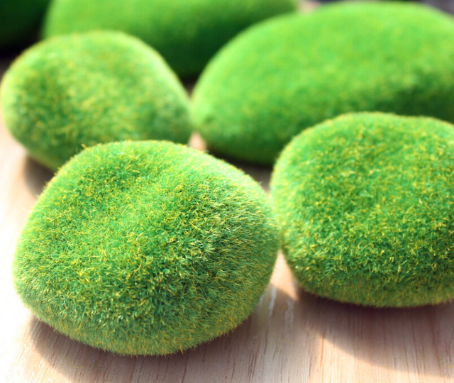 Hot Sale Artificial Fake Faux Emulation Moss Fuzzy Stone Ball Rock New Stone Ball Garden Decoration