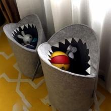 Скандинавский стиль войлочная ткань складная корзина для белья акула дизайн сумка для белья для игрушек сумки для хранения одежды Домашний Органайзер Декор