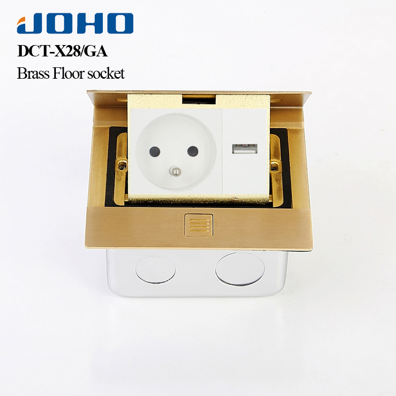 JOHO Brass Alloy Panel Slow Pop Up Floor Socket Box Power Outlet Standard Grounding with 16A French Socket And RJ45 Data Square