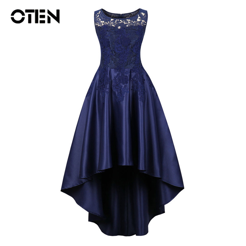 OTEN Elegant Ladies Plus Size vestido Women Summer Lace Patchwork Sleeveless Irregular High Low Navy Blue