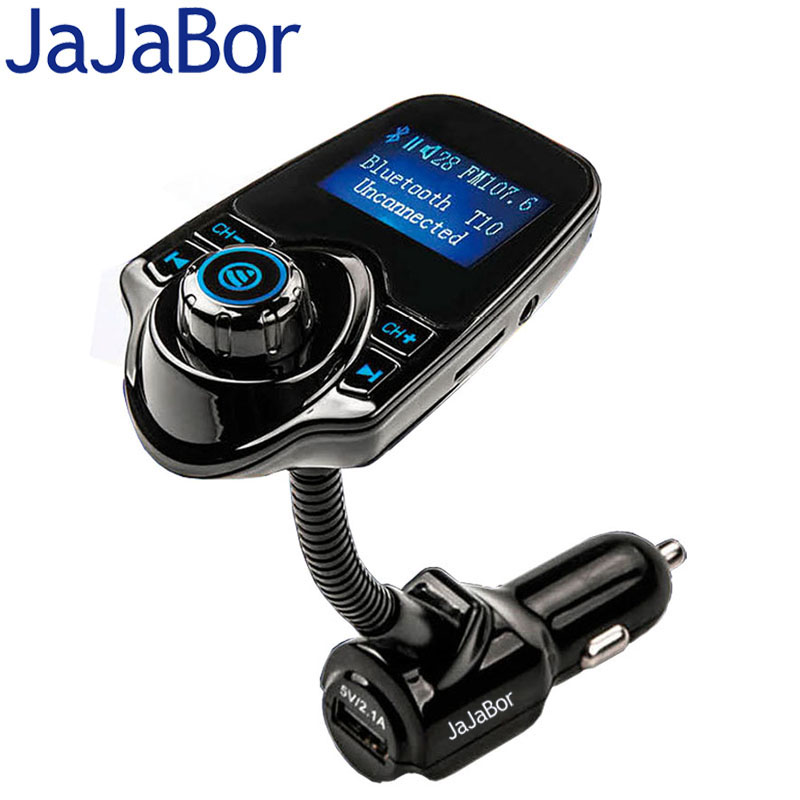 JaJaBor Bluetooth Car Kit Hands Free FM Transmitter MP3 Music Player 5V 2.1A USB Car Charger with Blue LED Screen For Phone