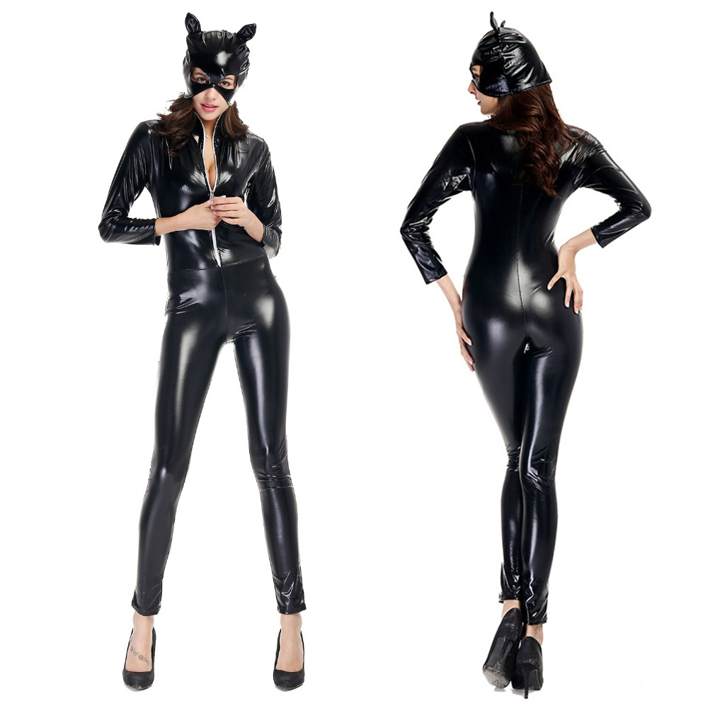 New! Adult Cosplay <font><b>Costumes</b></font> <font><b>Sexy</b></font> Black Faux Leather Cat Jumpsuit Women Latex <font><b>Catwoman</b></font> Clubwear Halloween Cosplay <font><b>Costume</b></font> Catsuit image