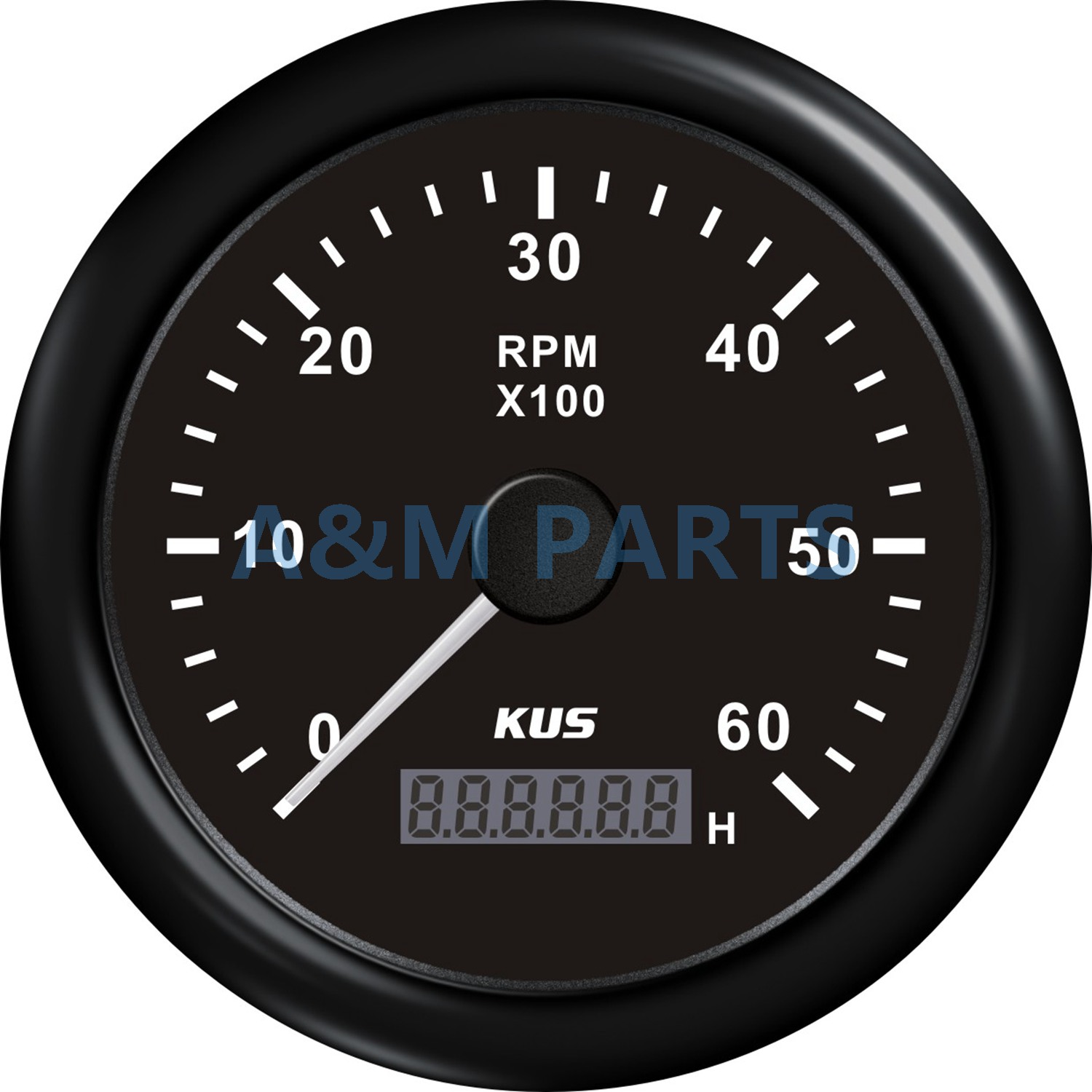 KUS Boat RPM Meter Marine Generator Tachometer With LCD Hourmeter 12/24V 0-6000 RPM 85mm kus marine outboard tachometer with led hourmeter boat truck car rv waterproof rpm meter 6000 rpm 85mm speed ration 1 10