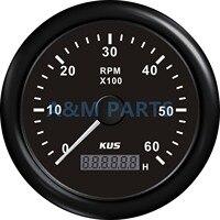 KUS Tekne RPM Metre Deniz Jeneratör Takometre LCD Saat Sayacı Ile 12/24 V 0-6000 RPM 85mm