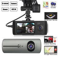 Dual Lens GPS Camera HD Car DVR Dash Cam Video Recorder G Sensor w/ Night Vision Lock Button Automatic Cycle Recording