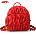 KEENICI Famous Brand Women Genuine Leather Backpack Fashion High Quality Women Cowhide Bag Mini Black Wrinkle Fold Backpack Gift