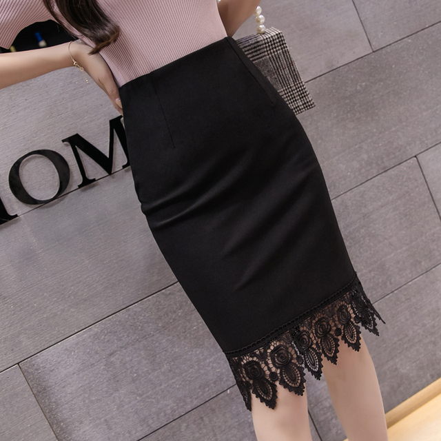 c1aeee3e0 Plus Size 5XL Women Office Formal Pencil Skirt 2019 New High Waist Stretch Midi  Skirts Womens Elegant Lace Patchwork Black Skirt
