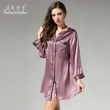 2019 Summer Women Silk Sleepshirts Long Sleeved V-Neck 100% Mulberrry Nightgowns Fashion High Quality Sleepwear S3632