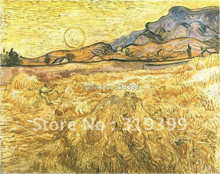 handmade oil painting reproduction ,Vincent Van Gogh painting,Wheat Field with Reaper and Sun ,100% handmade,Free DHL Shipping