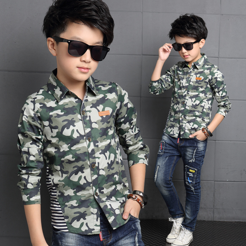 2016 Newest Baby Boy Shirt Camouflage Color Kid Shirts Turn down Collar Long Sleeve Military Style