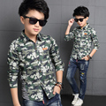 2016 Newest Baby Boy Shirt Camouflage Color Kid Shirts Turn-down Collar Long Sleeve Military Style Children Battle Fatigues Top