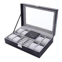 Antique High Grade 2 In One 8 Grids Leather Watch Case Storage Organizer Box Luxury Jewelry