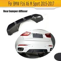Alerón difusor de labio de parachoques trasero para BMW F16 X6 M Sport SUV 2015-2017 con divisores delantal de fibra de carbono estilo de coche