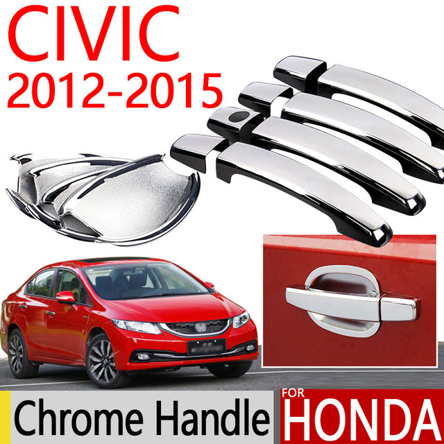 Para Honda Civic 2012 2015 Chrome Door Handle Covers Guarnição Set Para  Sedan Hatchback Acessórios