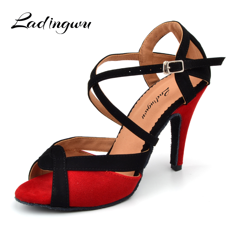 Ladingwu Women Latin Dance Shoes Flannel Salsa Women Ballroom Dancing Shoes For Girls Blue/Red Soft Bottom Indoor Shoes Tango