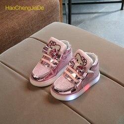 Moda nova primavera outono crianças brilhantes tênis crianças sapatos chaussure enfant olá kitty meninas sapatos com luz led 21-30