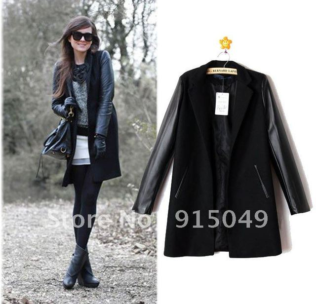 Womens New Celeb Style Luxury Faux Leather Long Sleeve Woolen Trench Coat