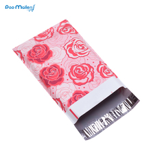100pcs 15x23cm 6x9 inch Rose Love pattern Poly Mailers Self Seal Plastic Envelope Bags