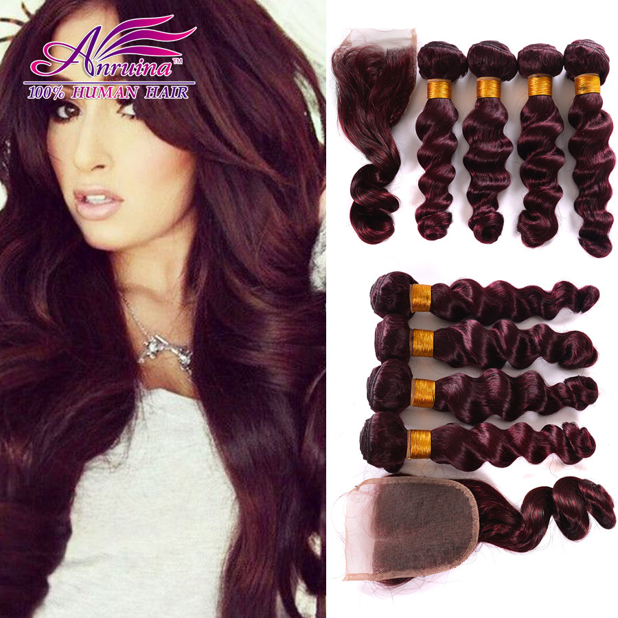 Bundles With Closure Beauty 8A Brazilian Virgin Human Hair Weave  Red 99j Loose Wave 4 Bundles With Lace Closure Remy Human Hair