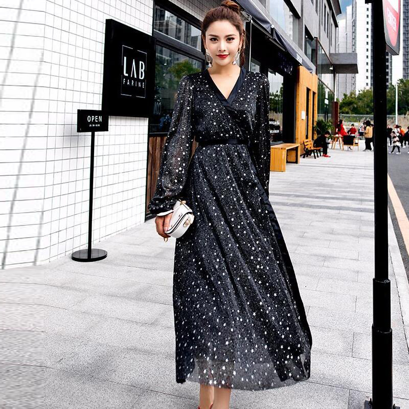 <font><b>2018</b></font> spring and summer women's long v neck <font><b>sexy</b></font> Harajuku style Bandage Gown dress female <font><b>Star</b></font> mesh yarn shining slit dress image
