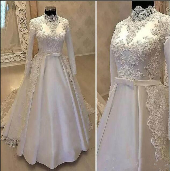 Vintage High Neck Wedding Dress With Long Sleeves Sweep Train Lace Appliques Satin Bridal Gowns With Belt Robe De Mariee Vestido
