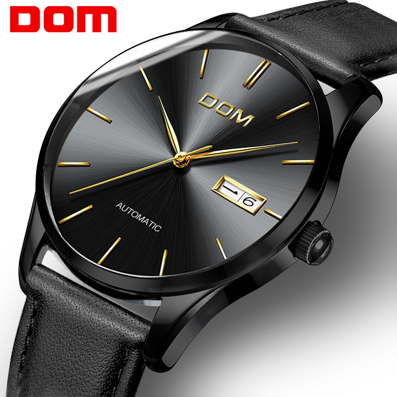 DOM Watch Men New Fashion Top Brand Luxury Lether Strap Waterproof Sport Watch Mechanical Wristwatches Relogio Masculino M-89