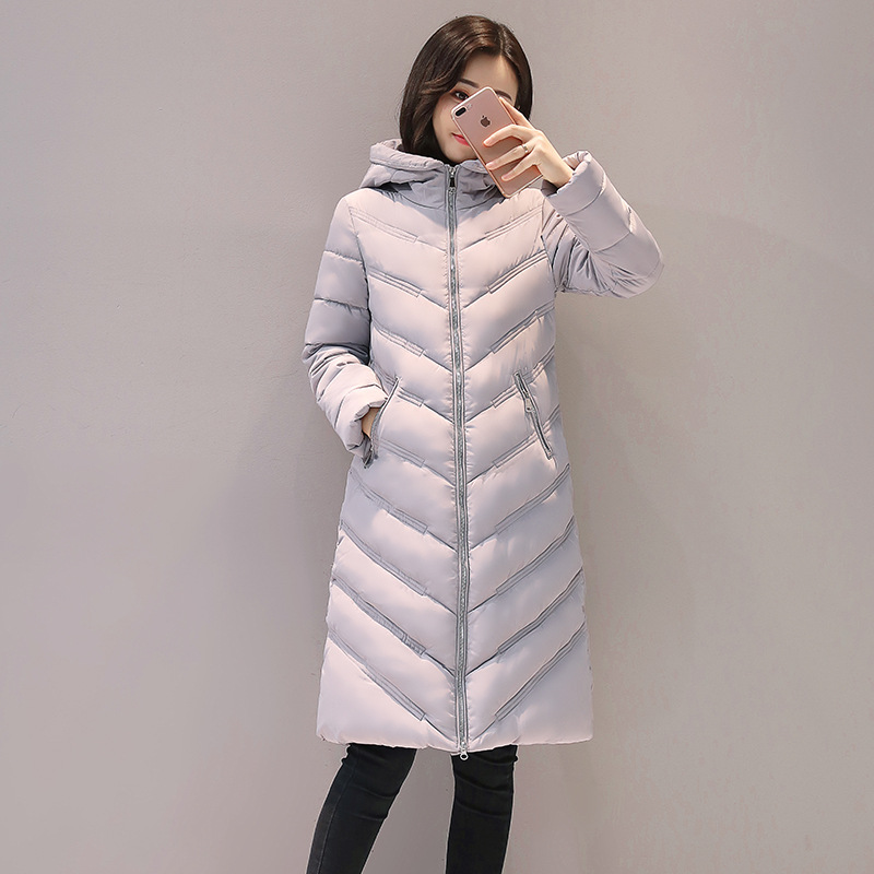 2017 New Winter Fashion Jacket Hooded Slim Long Thin Parkas Cotton Padded Casual Coat Warm Female Outwears M-3XL Plus Size 420 150
