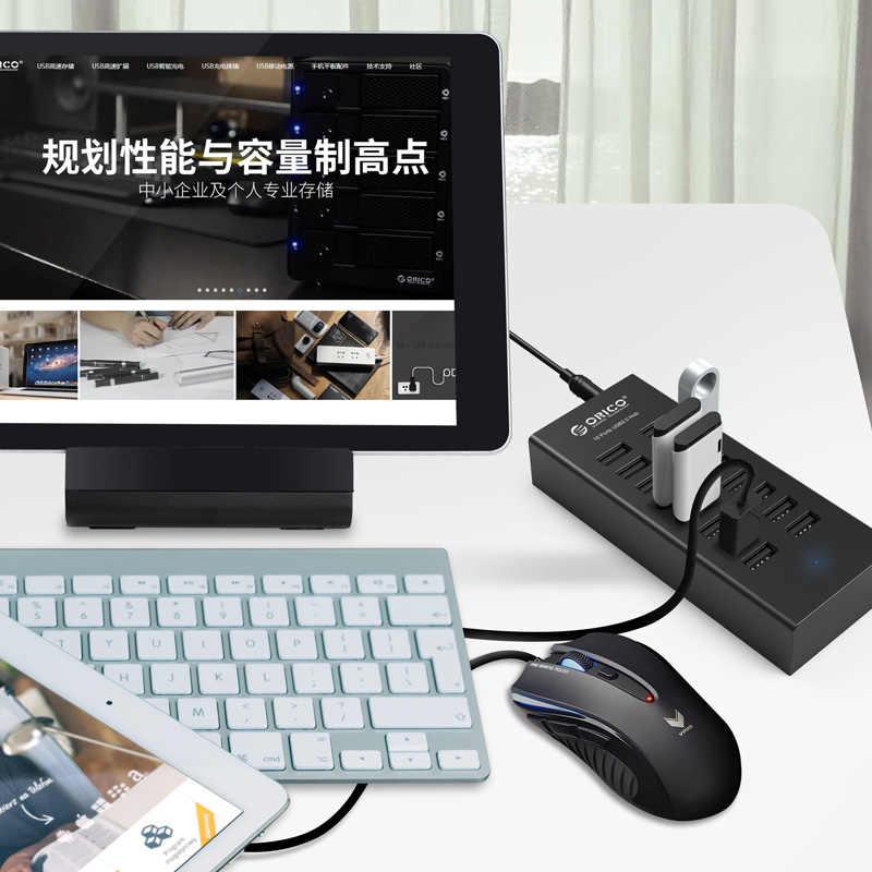 ORICO USB HUB 16 พอร์ตอุตสาหกรรม USB2.0 ฮับ USB เครื่องทำสำเนา 12V2A Power Adapter สำหรับ Apple MacBook Air LAPTOP PC แท็บเล็ต
