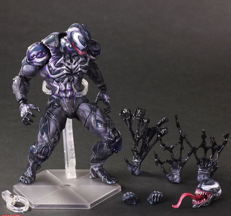 Play Arts Kai Spider Man Spider Venom Black Amazing Spiderman  PA Peter Parker 27cm PVC Action Figure Doll Toys Kids Gift tobyfancy blue spider man action figure play arts kai collection model anime toys amazing spiderman pa kai spider man
