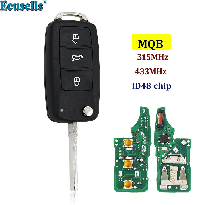 MQB system Smart Modified Folding flip 3 button 315MHz with ID48 chip remote key fob for VW Volkswagen HU66 uncut blade